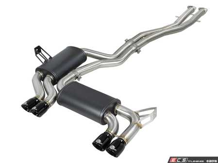 ES#3669084 - 49-36344-B - MACH Force-Xp Stainless Steel Cat-Back Exhaust - Mandrel-bent stainless steel with gloss black tips - +15hp +13lb/ft - AFE - BMW