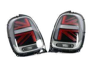 ES#3970686 - HMINI14TL-BRC - MINI Cooper Union Jack Clear/Black/Red Led Taillights F56 F55 F57 - Set (Factory LED) - Upgrade to Union Jack design tail lights for your MINI - Helix - MINI