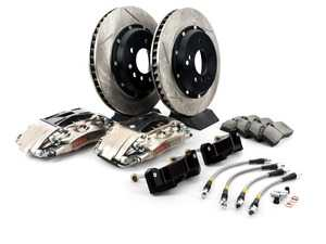 ES#3706867 - 83.131.0046.F1 - StopTech Rear 4 Piston Big Brake Kit (332x32mm) - Comes with 4 piston nickel plated calipers, 2 piece zinc coated slotted rotors and stainless steel brake lines. Includes brackets and mounting bolts. - StopTech - BMW