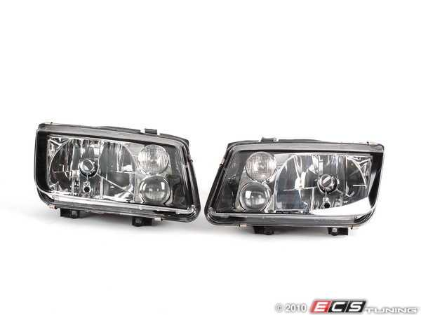 ES#10048 - zz560-2122 - European Headlight Set - Black - With fog lights, with clear turn signals - ZiZa - Volkswagen