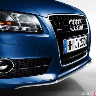 ES#251656 - 8T00710539AX - Audi A5 Audi Zubehr Front Spoiler With Trim - Primer - Add sleek, sophisticated styling to your A5 - Audi Zubehor - Audi