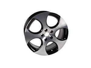 "ES#2083356 - 1K0601025BAFZZ - 18"" Detroit Wheel - Set Of Four - 18x7.5 ET51 5x112 alloys in black with polished face - Genuine Volkswagen Audi - Volkswagen"
