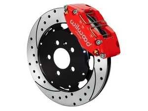 ES#3702126 - 140-8276-DR - Wilwood Dynapro 4 Piston Radial Front Kit 12.19in Drilled Red - Featuring 4 piston calipers, 2 piece slotted & drilled rotors, and performance brake pads - Wilwood - Volkswagen