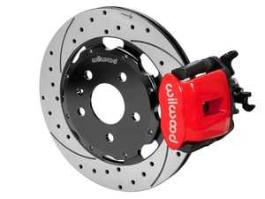 """ES#3701666 - 140-14591-DR - Combination Parking Brake Caliper Rear Brake Kit  - Features 12.19"""" drilled & slotted rotors & red calipers - Provides balanced brake performance and style to compliment front big brake kits! - Wilwood - Audi"""