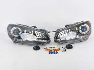 ES#3987661 - LHPGLF10JM8V2TMS - Projector Headlight Set - Black - *Scratch And Dent* - *Please see description prior to ordering* features Audi R8 style led DRLs - Spec-D Tuning - Volkswagen