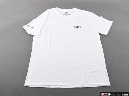 ES#3133464 - ACM3001WHTMD - Quattro T-Shirt - White - Medium - Sometimes less is more. Make yourself known with the quattro T-Shirt. 100% combed and ringspun cotton. - Genuine Volkswagen Audi - Audi BMW Volkswagen Mercedes Benz MINI Porsche