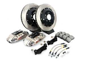 ES#3706865 - 83.160.0047.F1 - StopTech Rear 4 Piston Big Brake Kit (355x32mm) - Comes with 4 piston nickel plated calipers, 2 piece zinc coated slotted rotors and stainless steel brake lines. Includes brackets and mounting bolts. - StopTech - BMW