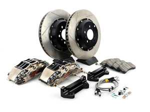 ES#3709351 - 83.B38.6Q00.F1 - StopTech Front 6 Piston Big Brake Kit (355x32mm) - Comes with 6 piston nickel plated calipers, 2 piece zinc coated slotted rotors and stainless steel brake lines. Includes brackets and mounting bolts. - StopTech - BMW