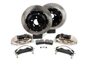 ES#3709352 - 83.B38.0058.F1 - StopTech Rear 4 Piston Big Brake Kit (380x32mm) - Comes with 4 piston nickel plated calipers, 2 piece zinc coated slotted rotors and stainless steel brake lines. Includes brackets and mounting bolts. - StopTech - BMW