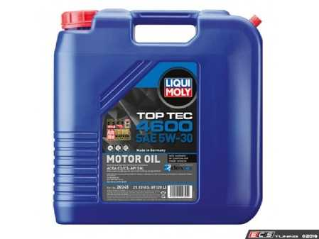 ES#3991622 - 20345 - Top Tec 4600 5W30 Synthetic Motor Oil - 20 Liter - Suitable for gasoline and diesel vehicles with and without particulate filter & exhaust gas turbo chargers - Liqui-Moly - BMW Mercedes Benz