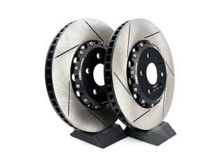 ES#3659755 - 013928ecs03KT - Front Slotted 2-Piece Semi-Floating Brake Rotors - Pair (340x30) - Direct bolt-on replacement - Save 8.40lbs of unsprung weight for enhanced performance! - ECS - Audi Volkswagen