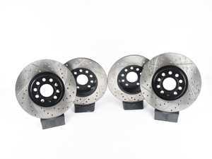 ES#3536711 - 025997ECS0226KT - Performance Front & Rear Brake Service Kit - Featuring ECS V4 Drilled & Slotted rotors and Hawk HPS pads - Assembled By ECS - Audi