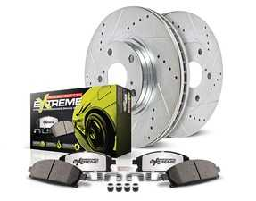ES#3989999 - K5752-26 - Z26 Street Warrior Brake Kit - Front - Includes performance drilled and slotted rotors and Power Stop's Extreme Carbon-Fiber Ceramic pads. - Power Stop - Audi
