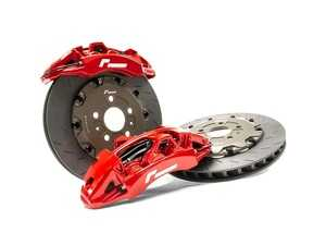 ES#4000140 - VWR650000-RED - Stage 3 Forged Monoblock Brake Upgrade - Red (380mm) - 6 piston calipers featuring two-piece floating high cast carbon discs. - Racingline - Volkswagen