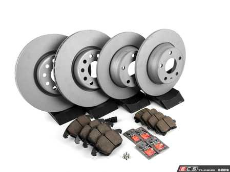 ES#2597460 - 1K0615301AAKT7 - Front & Rear Premuim Brake Service Kit - Featuring Zimmerman rotors and Akebono Euro Ceramic pads - Assembled By ECS - Audi