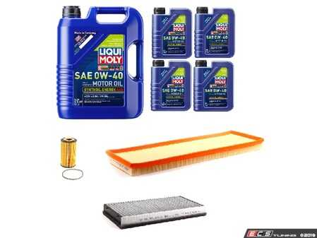 ES#4005223 - 99611013171KT7 - 996 Turbo / Turbo S / GT2 Minor Maintenance Kit - Featuring Liqui-Moly A40 Porsche Spec approved 0w-40, Hengst Oil/Cabin Filters, and Mahle Air Filter - Assembled By ECS - Porsche