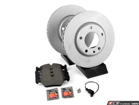 ES#3647771 - 34112226813KT1 - Front Brake Service Kit - Featuring Zimmermann coated rotors and Pagid brake pads - Assembled By ECS - BMW