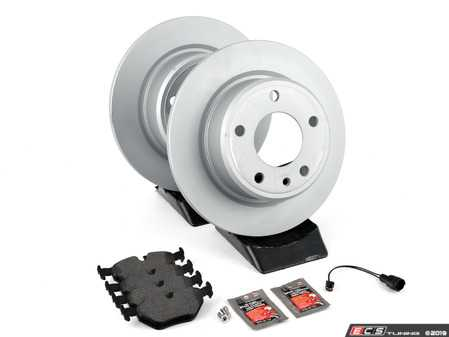 ES#3647772 - 34212225507kt1 - Rear Brake Service Kit - Featuring Zimmermann coated rotors and Pagid brake pads - Assembled By ECS - BMW