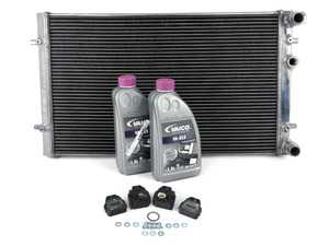 ES#4005135 - 018163ECS02KT -  MK4 Performance Aluminum Radiator - With Installation Kit - Direct-fit upgrade! Featuring a 26% increase in cooling system capacity along with a durable, all aluminum construction. Includes new radiator mounts, fan switch seal and coolant. - ECS - Audi Volkswagen