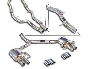ES#4017775 - 777512KT -   Supersprint Cat-Back Exhaust System - Non-Resonated  - Stainless steel non-resonated cat-back exhaust system with quad round, polished tips - Includes secondary cat delete downpipes - Supersprint - Audi