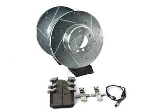 ES#3477781 - K6653-26 - Z26 Street Warrior Brake Kit - Front - Includes performance drilled and slotted rotors and Power Stop's Extreme Carbon-Fiber Ceramic pads. - Power Stop - BMW