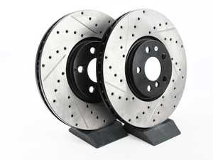 """ES#3536534 - 127.34186KT - Cross Drilled & Slotted Front JCW Rotors - Pair 13.189"""" (335x30) - This design removes performance robbing outgas and material dust caused by braking - StopTech - MINI"""