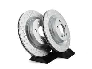 """ES#3663651 - 34216864135KT - Rear Drilled / Slotted JCW Rotors - Pair 11.811"""" (300x20) - High performance rotors for stopping your MINI. - Genuine MINI - MINI"""