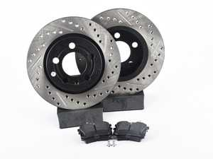 ES#3538342 - 025997ECS0661KT -  Performance Rear Brake Service Kit (256x22) - Featuring ECS V4 cross drilled & slotted rotors and Hawk HPS pads - Assembled By ECS - Volkswagen