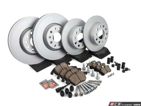 ES#2997838 - 5C0698151AKT4 - Front & Rear Brake Service Kit - Featuring Meyle rotors and Akebono Pads - Assembled By ECS - Volkswagen