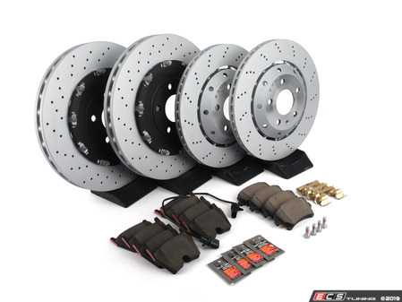 ES#2681153 - 8E0615301ABKT3 - Front & Rear Brake Service Kit - Featuring OEM rotors and Brembo brake pads - Assembled By ECS - Audi