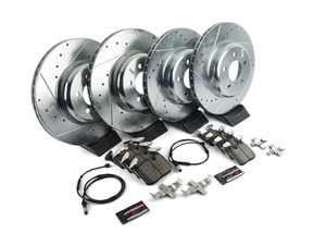 ES#3477785 - K7012-26 - Z26 Street Warrior Brake Kit - Front and Rear - Includes performance drilled and slotted rotors and Power Stop's Extreme Carbon-Fiber Ceramic pads. - Power Stop - BMW