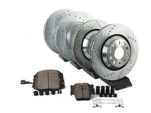 ES#3990284 - K7253 - Z23 Evolution Brake Kit - Front and Rear  - Featuring front slotted and drilled rotors & carbon-fiber ceramic brake pads - Power Stop - Volkswagen