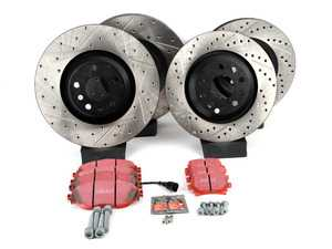 ES#3536978 - 025997ECS0379KT - Front & Rear Brake Service Kit (340x30/310x22) - Featuring ECS V4 drilled and slotted rotors and EBC RedStuff pads - Assembled By ECS - Volkswagen