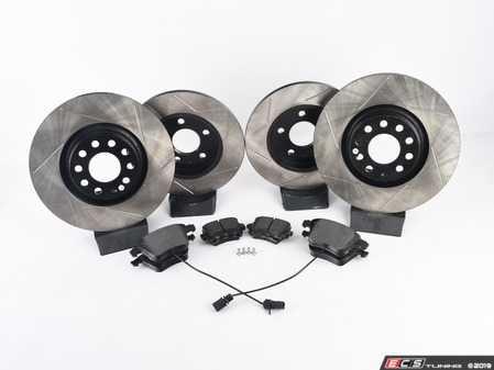ES#3537631 - 025997ECS0565KT - Performance Front & Rear Brake Service Kit - Featuring ECS V4 Slotted rotors and Hawk HPS pads - Assembled By ECS - Audi
