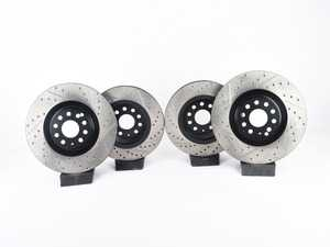 ES#3536783 - 025997ECS0260KT - Performance Front & Rear Brake Service Kit - Performance brake upgrade all around featuring ECS V4 cross drilled & slotted rotors and Hawk HPS performance brake pads - Assembled By ECS - Volkswagen