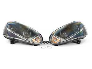ES#4000833 - 5017529 - Xenon Projector Headlight Set - Black - Features angled LED daytime running lights and projector housings - Spyder - Volkswagen