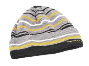 ES#4007850 - ACM4512 - quattro Yellow Stripe Beanie - This quattro Striped Beanie with cuff is the perfect addition to your cold weather closet. - Genuine Volkswagen Audi - Audi