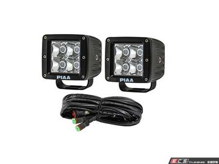 ES#3477292 - 26-06603 - Quad Series LED Cube Light Kit in Spot Beam w/ Harness - Spot Beam LED Cube Lights - PIAA - Audi BMW Volkswagen Mercedes Benz MINI Porsche