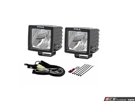 """ES#3477411 - 7340 - RF Series 3"""" LED Cube Light Flood Beam Kit - To add some additional light for low light areas - PIAA - Audi BMW Volkswagen Mercedes Benz MINI Porsche"""