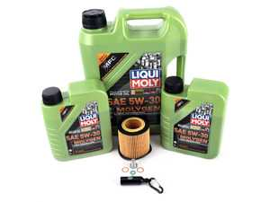 ES#4039400 - 11427566327KT10 - Liqui Moly MolyGen Oil Change Kit / Inspection I - Includes seven quarts of Liqui Moly MolyGen 5w-30 synthetic engine oil, Hengst oil filter and new drain plug - Assembled By ECS - BMW