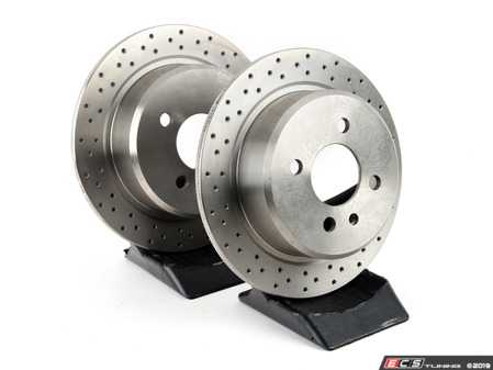 ES#3706894 - 34211119581D - Bavarian Autosport Cross Drilled Brake Rotor Set - Rear - Pair these with upgraded rotors for drastically improved stopping power. - Bavarian Autosport - BMW