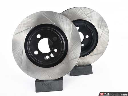 ES#2597877 - 34116855781SLKT - Performance Front Brake Service Kit - JCW - Featuring ECS V4 Slotted rotors and Hawk HPS pads - Assembled By ECS - MINI