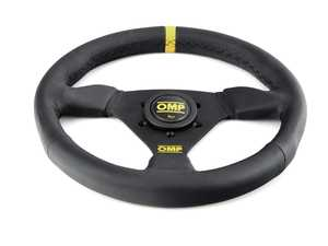 ES#3192153 - OD/1976/N - Trecento Racing Steering Wheel - Black/Yellow Leather - Universal sport steering wheel with a 300mm diameter. - OMP - BMW