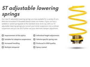 ES#4045292 - 273100AS - ST Adjustable Lowering Springs - Allows individual ride height adjustment at each corner of your vehicle - Make your stock suspension height adjustable, without compromise! - Suspension Techniques - Audi