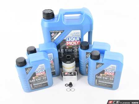 ES#3624399 - 2039ktKT - Oil Service Kit - Premium With Magnetic Drain Plug - Includes 9 liters of LiquiMoly Longtime High Tech Engine Oil (5w-30), oil filter, magnetic drain plug, and drain plug washer - Assembled By ECS - Audi
