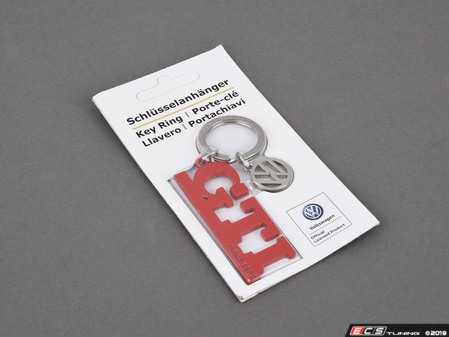 "ES#4001746 - DRG008938 - GTI Keychain With Charm - Features red GTI logo with stamped ""Since 1976"" text and a VW logo charm - Genuine Volkswagen Audi - Volkswagen"