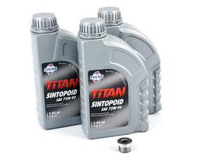 ES#2993015 - G052527A2KT3 - Manual Transmission Fluid Service Kit - Featuring 3 liters of Fuchs Sintofluid FE 75W-90 fluid and a drain plug to service your transmission. M22x1.5 - Assembled By ECS - Volkswagen