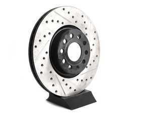 ES#4057297 - 127.33098rsdKT - Front Cross Drilled & Slotted Brake Rotors - Pair (312x25) *Scratch And Dent*  - *Please see description prior to ordering* Upgrade to a slotted / cross-drilled rotor for improved braking - OE# 1K0615301AA - StopTech - Audi Volkswagen