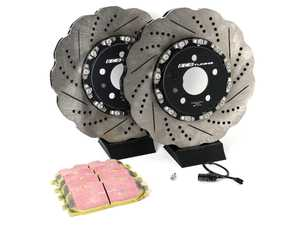 ES#4057323 - 023940ECSKT1 - Front Performance Brake Service Kit - Tru-Float  - Comprehensive kit includes Tru-Float rotors, pads, sensor, and set screws - Upgrade your brake system with ECS 2-piece Tru-Float wave rotors and EBC Yellow Brake Pads! - Assembled By ECS - Audi