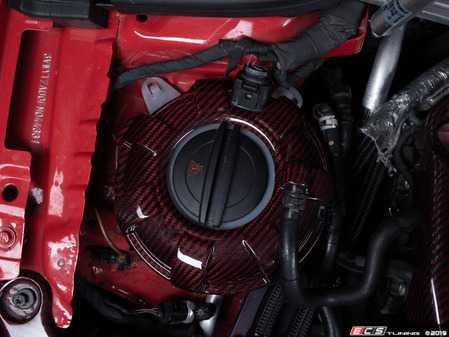 ES#3575772 - 020807ECS01-02 - Red Carbon Kevlar Expansion Tank Cover Kit  - Wrap your coolant tank, top to bottom, with carbon Kevlar! - ECS - Audi Volkswagen